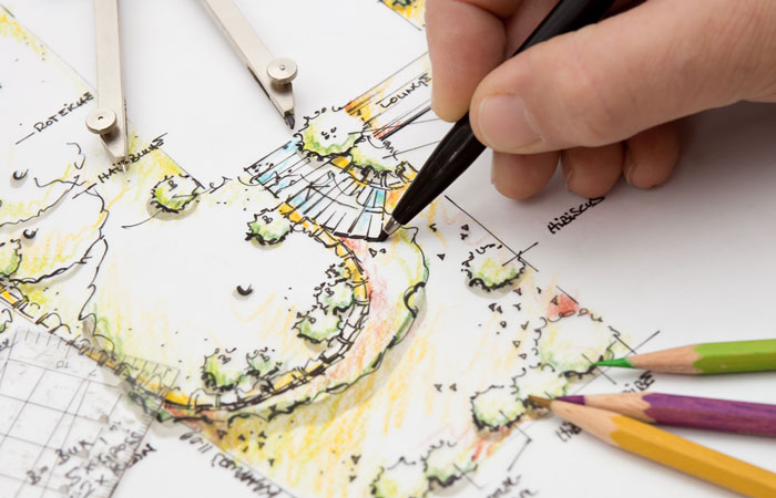 Man designing a garden